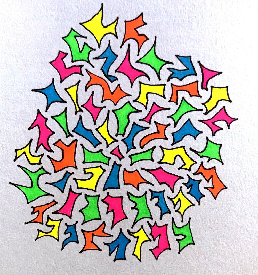 Confetti Celebration.  9x 12, marker