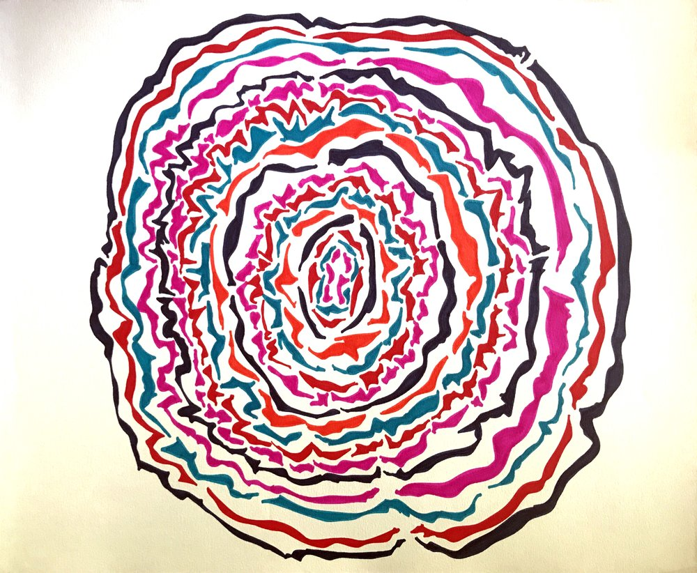 Atypical Mandala.  14x 17 in, marker