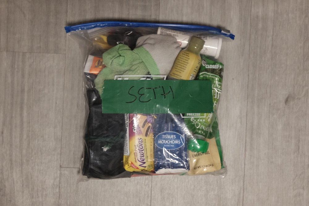 One gallon drop bag contents