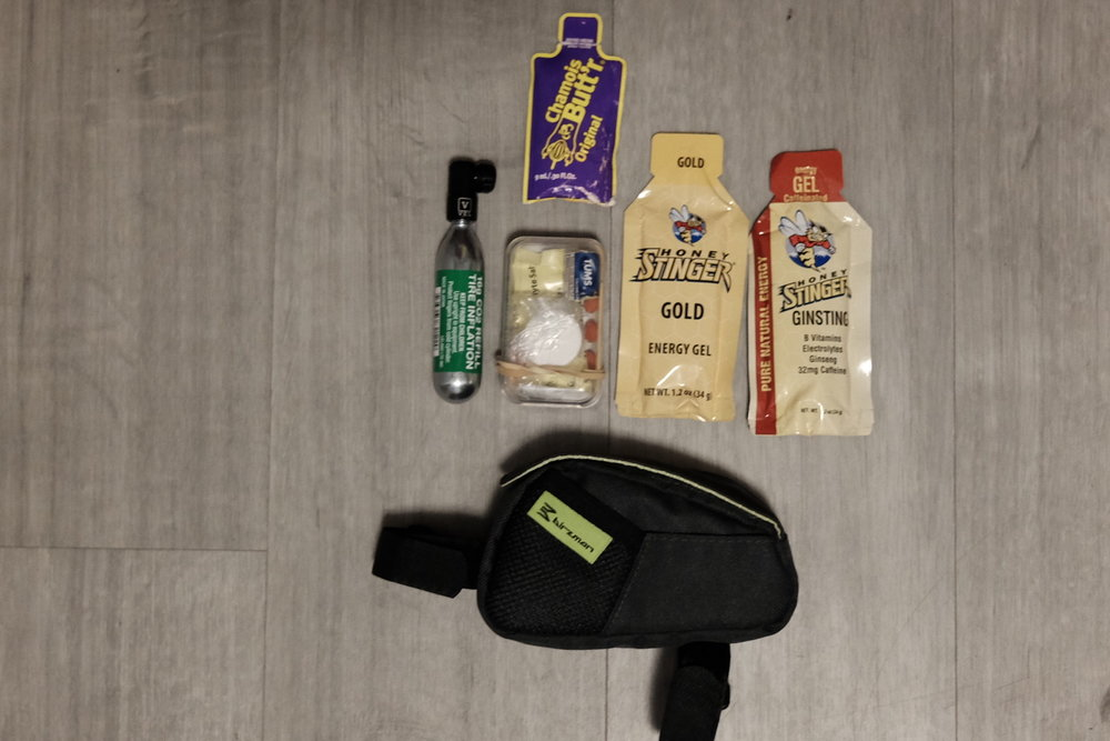 Top tube bag and contents