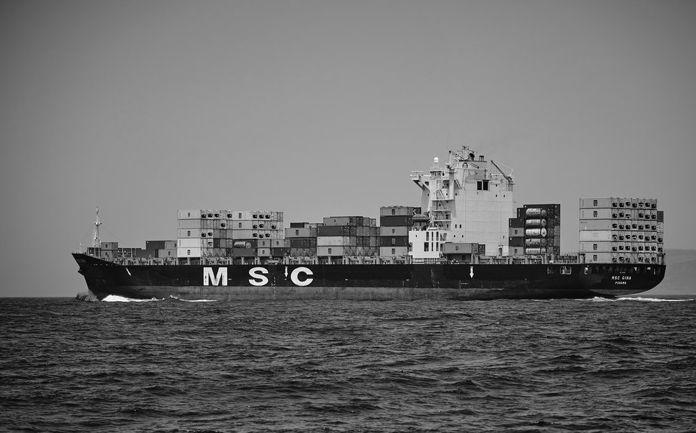 A container ship on the ocean, seen from the side