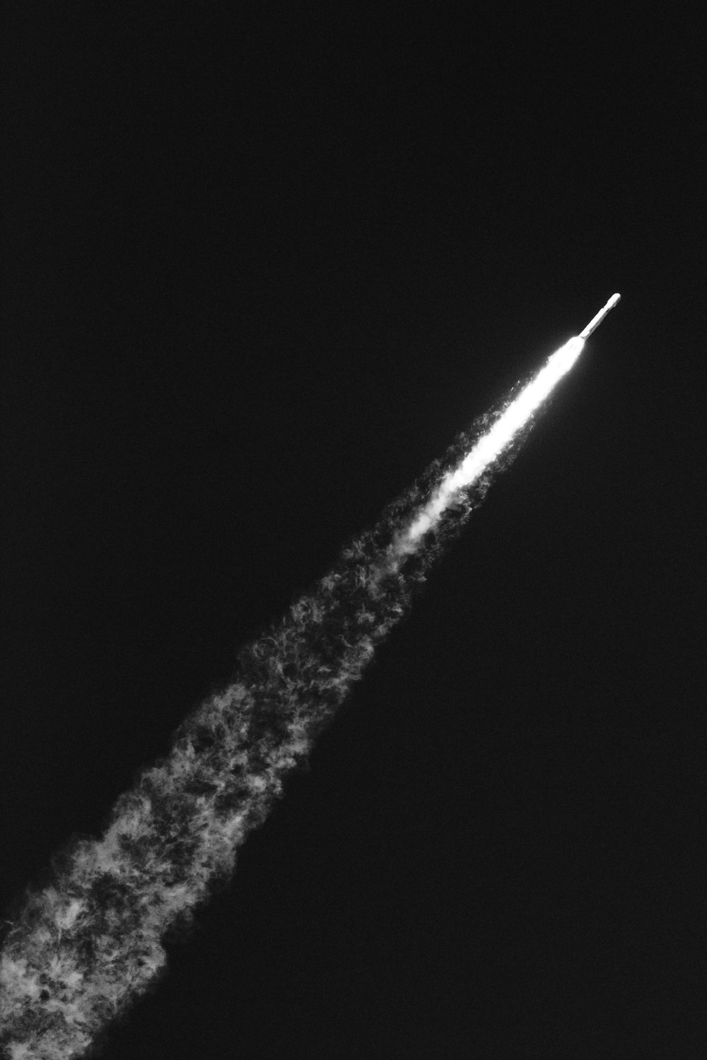A rocket flying through space
