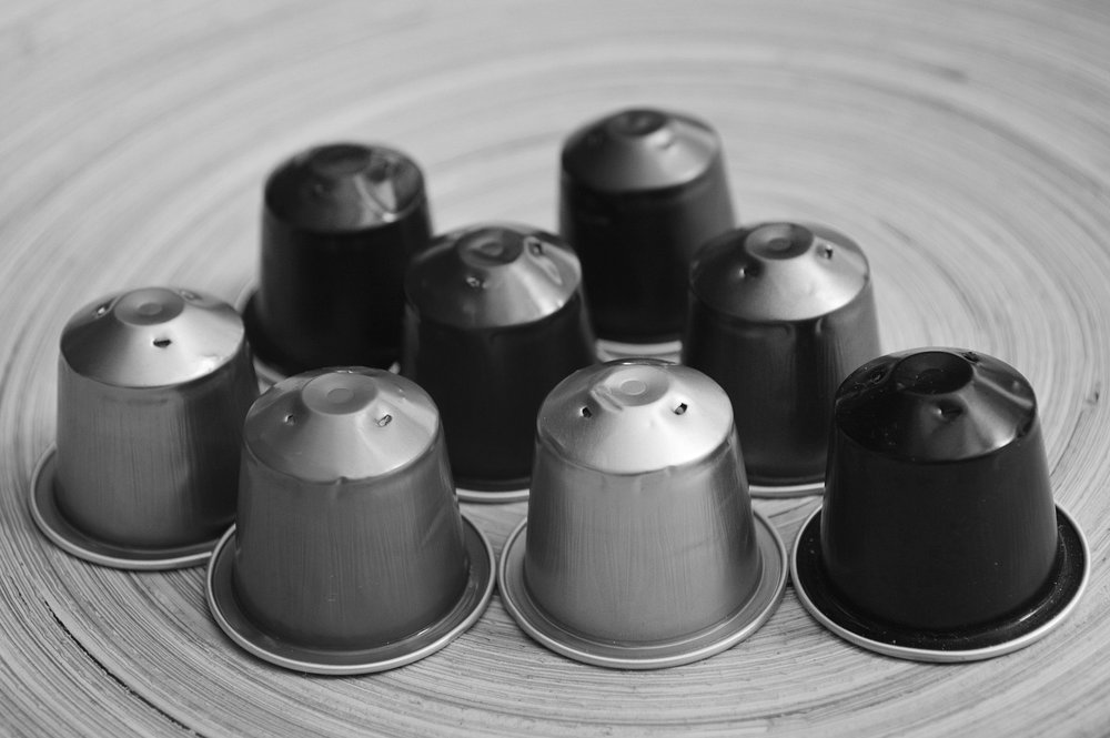 Coffee pods upended on a table