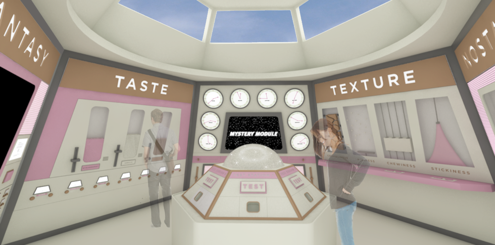 Located in Madison Square Park, Mystery Module tells the story of astronaut ice cream through an immersive space lab environment. The exhibition interior introduces the snack's main components: taste, texture, nostalgia and fantasy. Visitors modulate each component and create an instant test sample to take away.