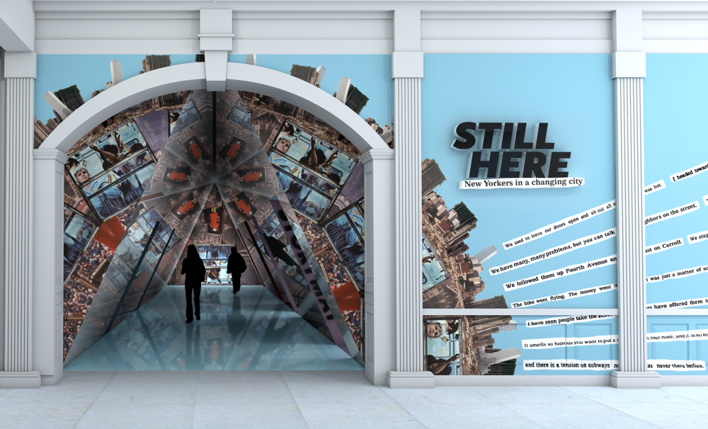 Visitors enter the exhibition galleries through a hallway that has been transformed into a walk-through kaleidoscope. Inside the hallway, visitors become a part of the kaleidoscopic image of New York City.