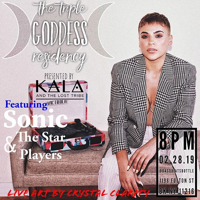 TOMORROW Feb. 28th at 8pm SHARP @basquiatsbottle | The Star Players and I are super excited to perform for The Triple Goddess Residency! It's ONLY a $5 cover I repeat a $5 cover y'all! Please come out and send us off with some good juju before we head out for SXSW 💫See you there?