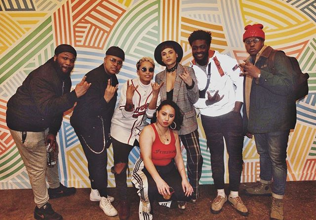 This is my team y'all! My family! Between @womxynamplify & The Star Players! (@quazzthekid 🎷 not pictured cause he quietly be dipping out early lol) I'm truly blessed to be surrounded by so much magic and brilliance. Y'all have been my constant! ••• SXSW + Sisters Unsigned mini tour here we come! You know we couldn't do this without the FULL experience so we rolling deep! You can contribute now at the gofundme link in my bio! Hopefully we'll be coming to a city near you really soon!! Donations, shares & love notes are all welcomed! Thank you in advance! ••• What city should we bring @sistersunsigned to? Comment below!
