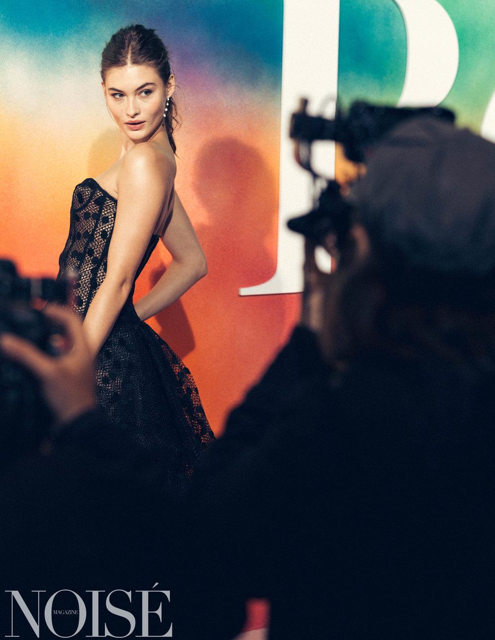 Grace Elizabeth wearing Oscar de la Renta at BoF 500 gala, Photograph by Siyu Tang for NOISÉ