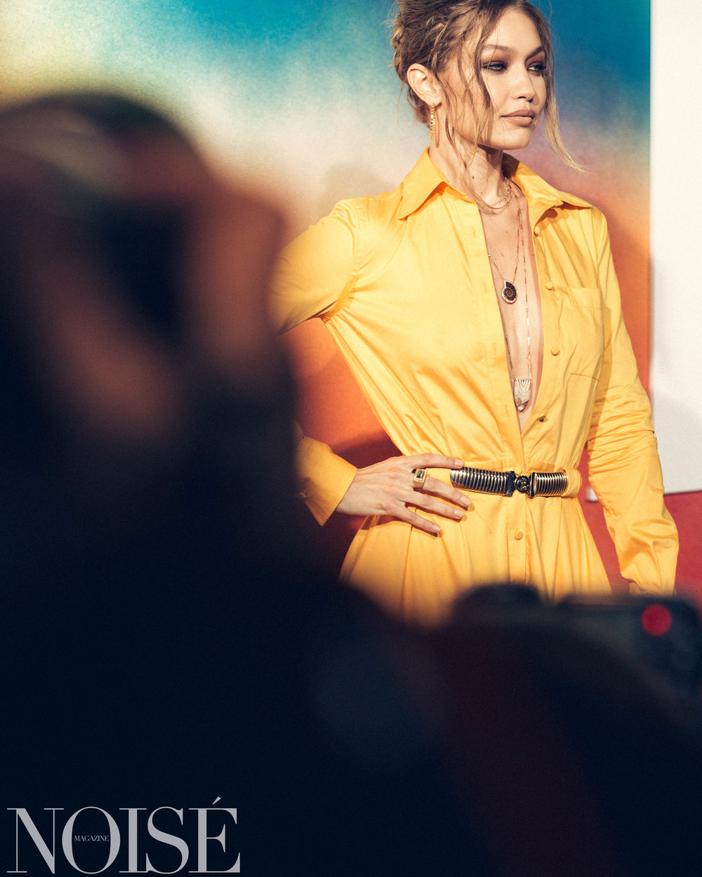 Gigi Hadid wearing Brandon Maxwell Jacquie Aiche at BoF 500 gala, Photograph by Siyu Tang for NOISÉ