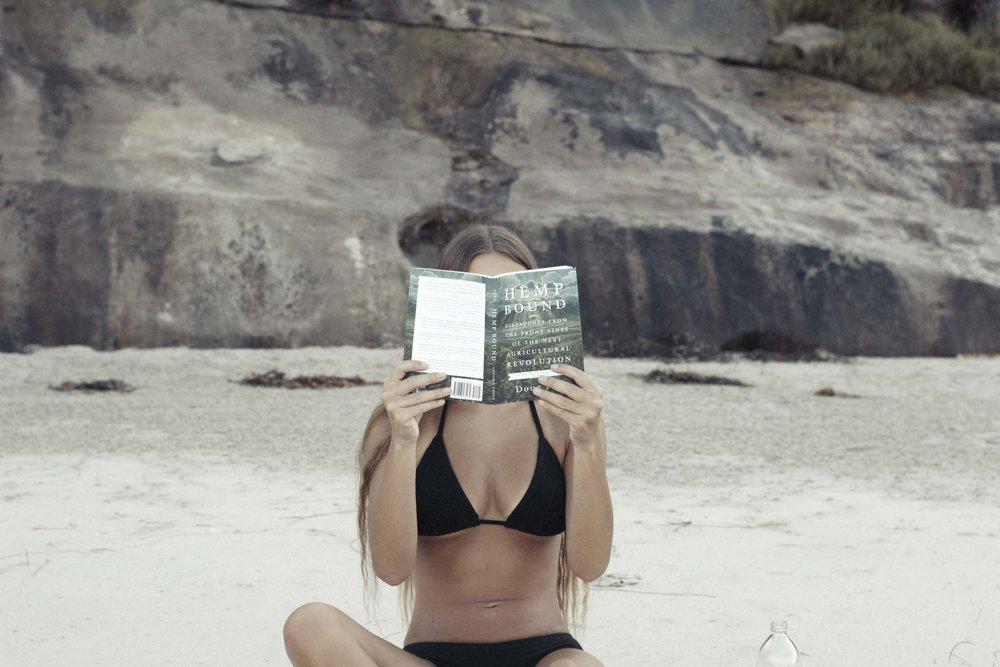 Indie Attire Bikini Top.       Hemp Bound Book.
