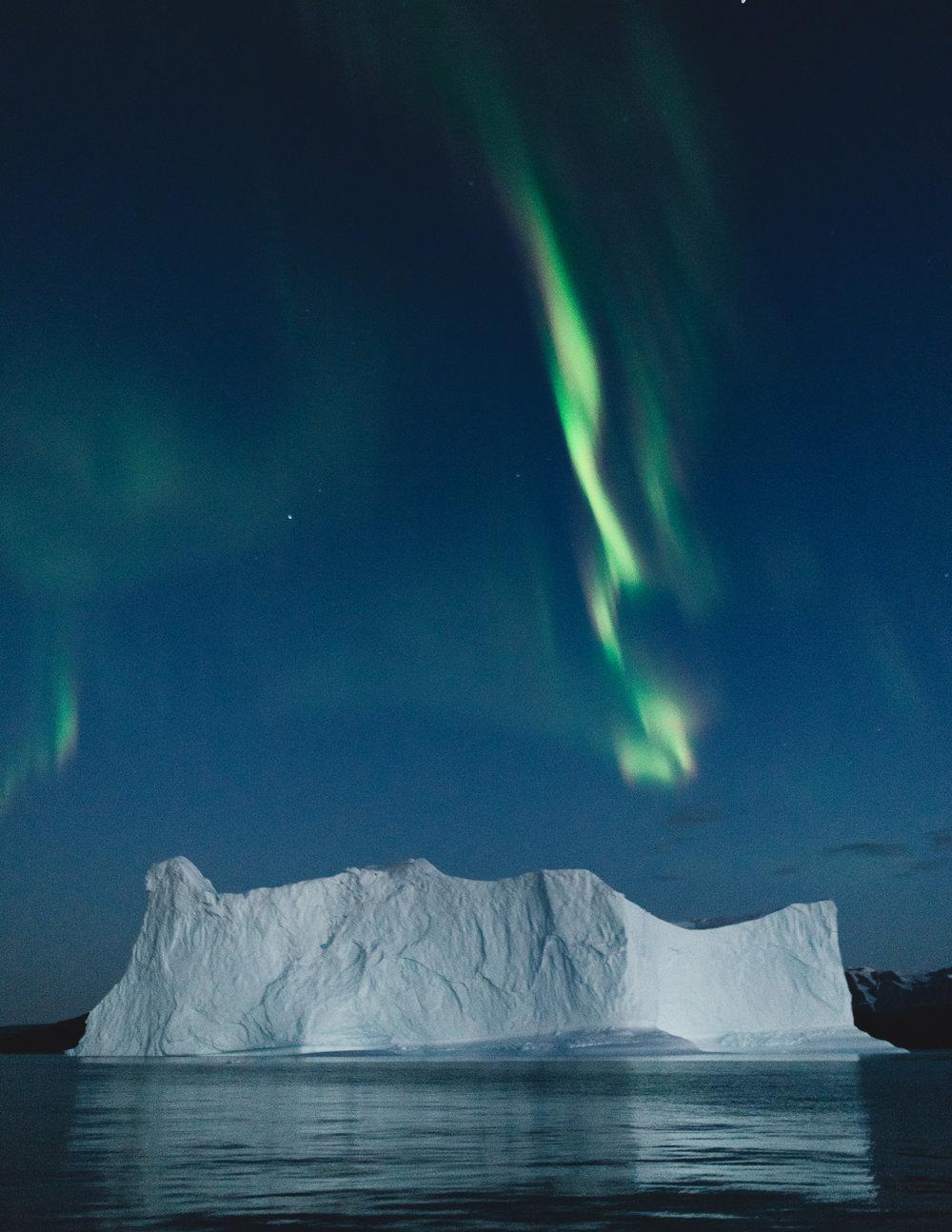 Aurora over iceberg: Northeast Greenland 2018