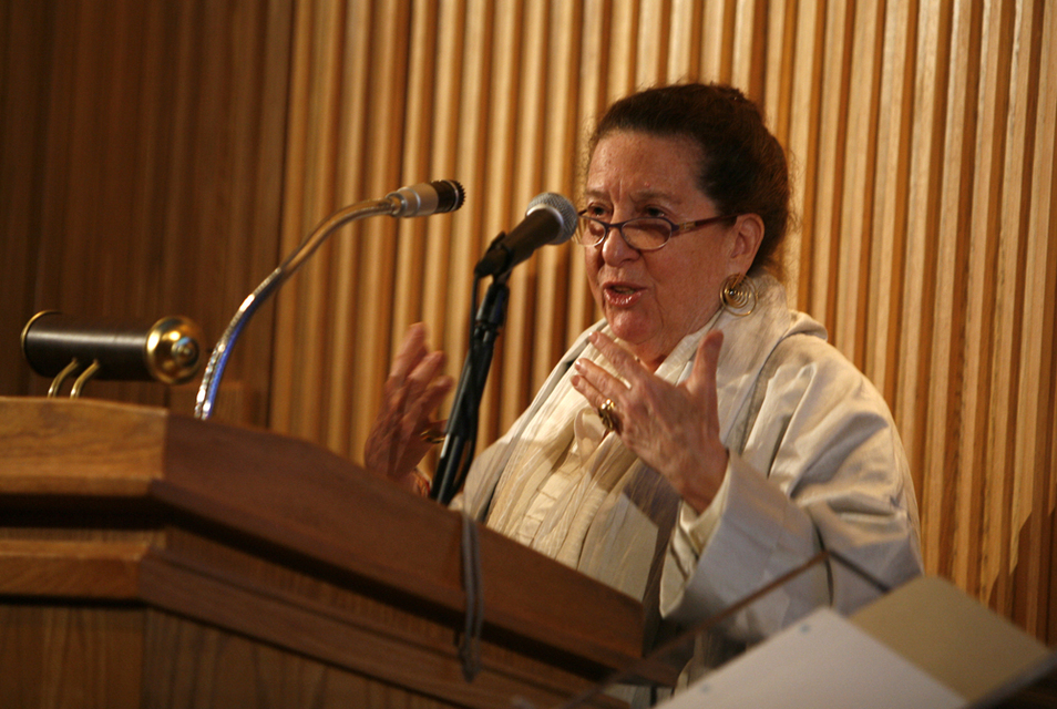 Maxine giving a lecture at the acquisition ceremony for Dexter Gordon's private collection at the  Library of Congress , 2010.