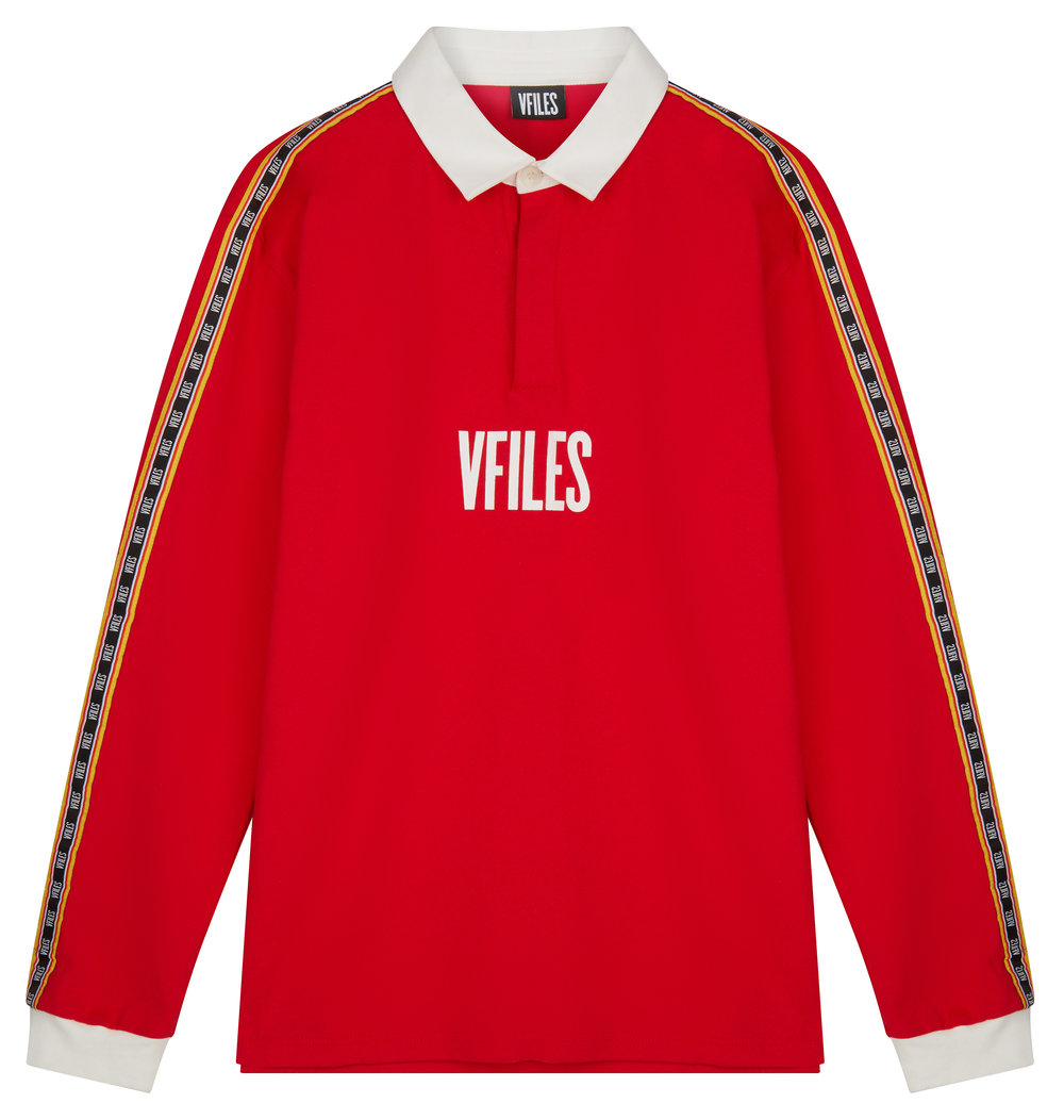 ASOS VFILES LOGO RUGBY SHIRT IN RED WITH TAPING £80.jpg
