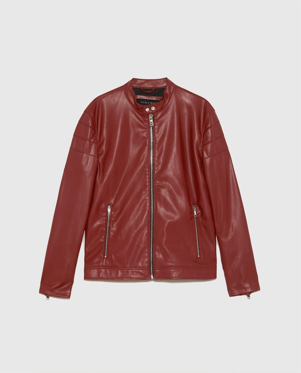 Red leather biker jacket - £49.99 at Zara