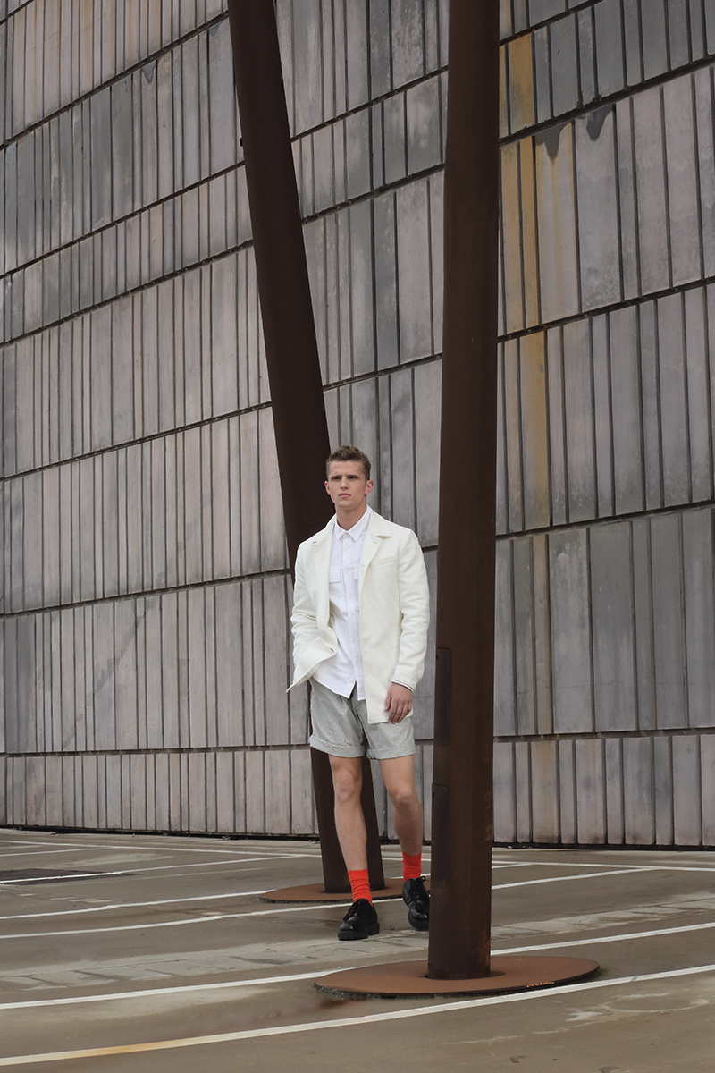 Jacket -  Dirk Bikkembergs , shirt -  H&M , shorts - stylist's own, socks -  COS , shoes -  Valentino