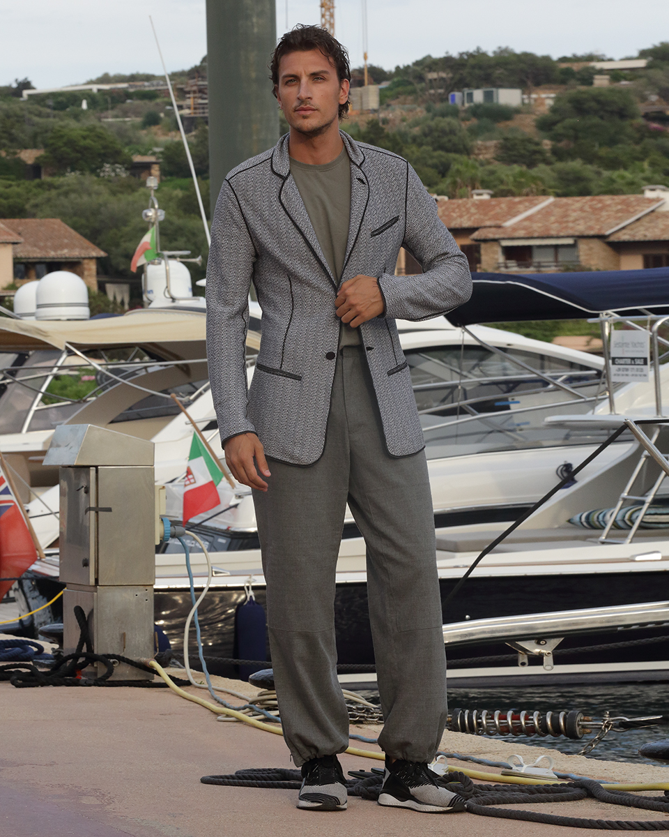 Blazer & trousers -  Armani , T-shirt -  Zara,  Sneakers -  Puma