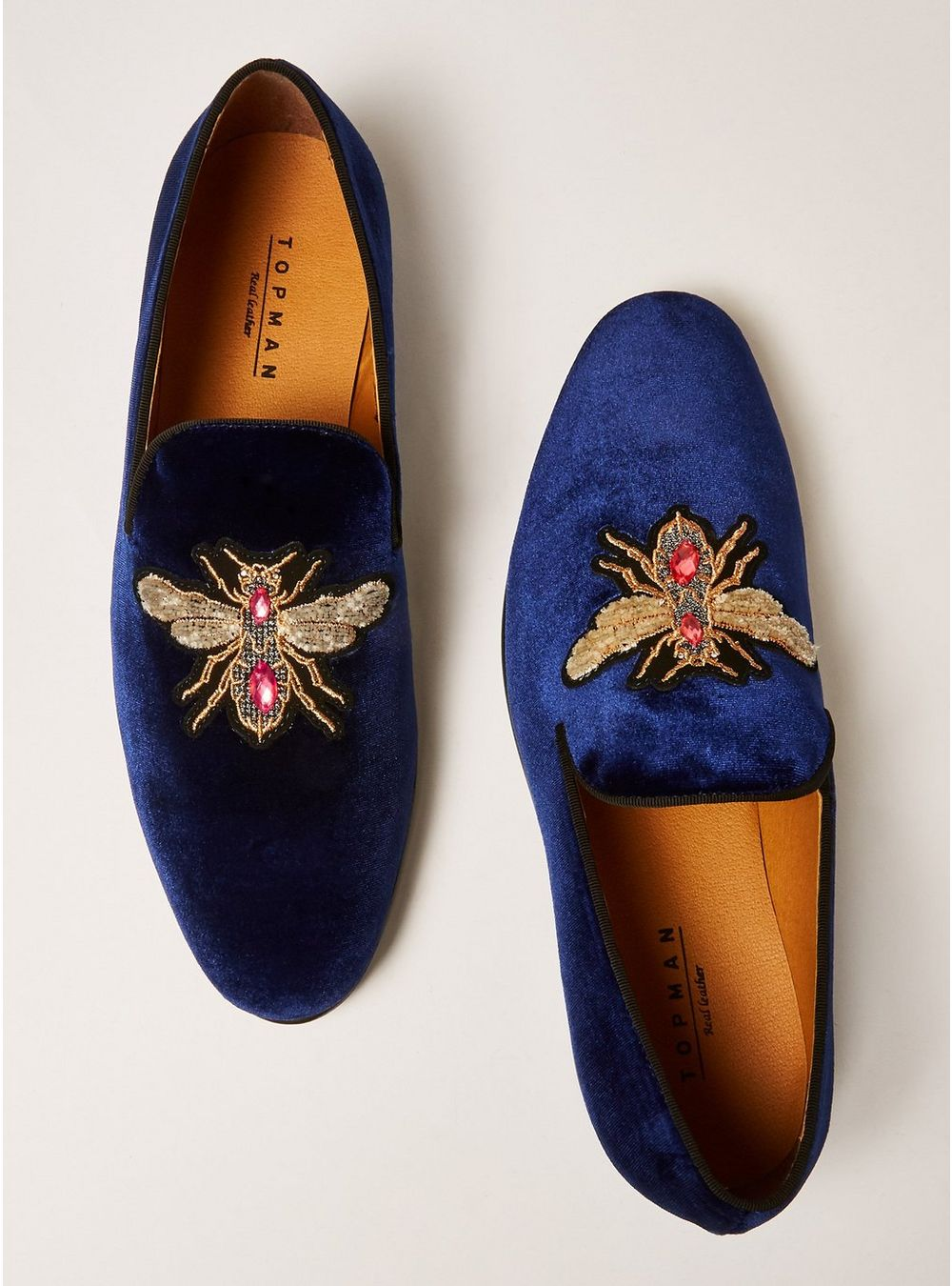 Topman navy loafers - £69 - It's almost party season so invest in a new pair of swag, velvet loafers