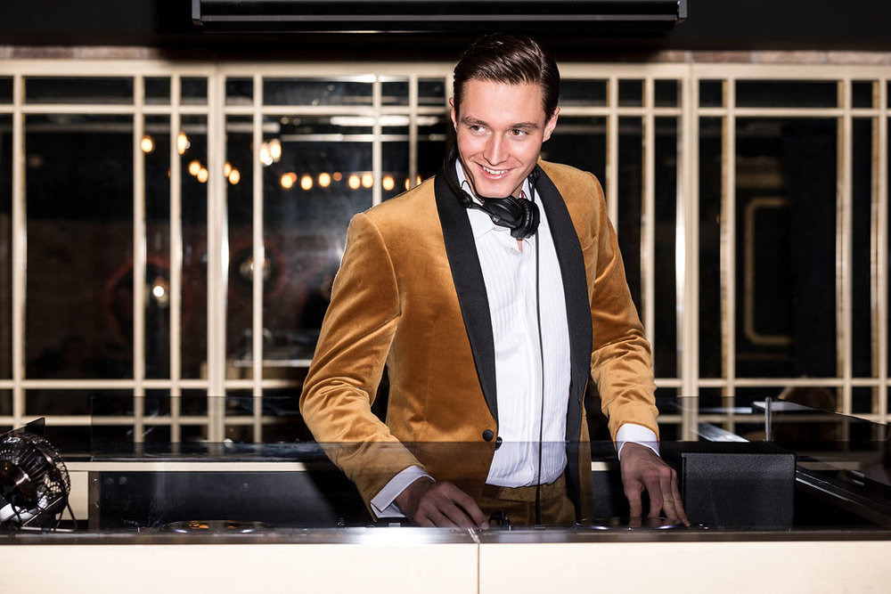 Huw wears tuxedo by  Richard James , shirt by  Gieves & Hawkes