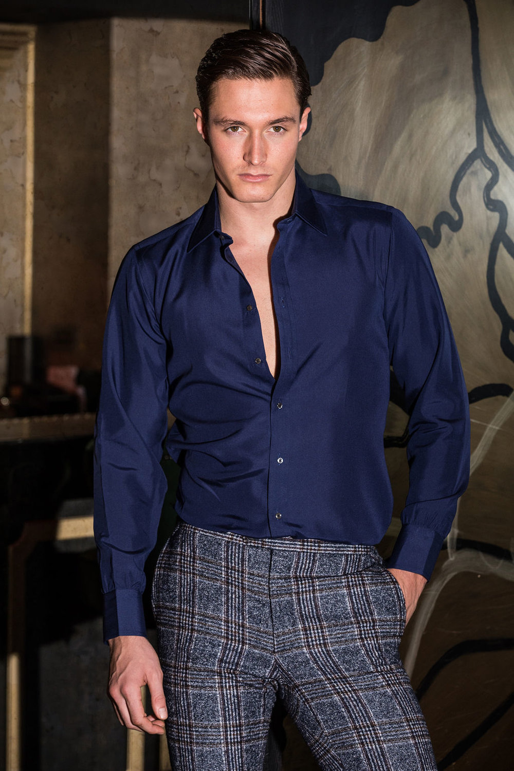 Huw wears  Turnbull & Asser  shirt and  Tailor Made London  trousers
