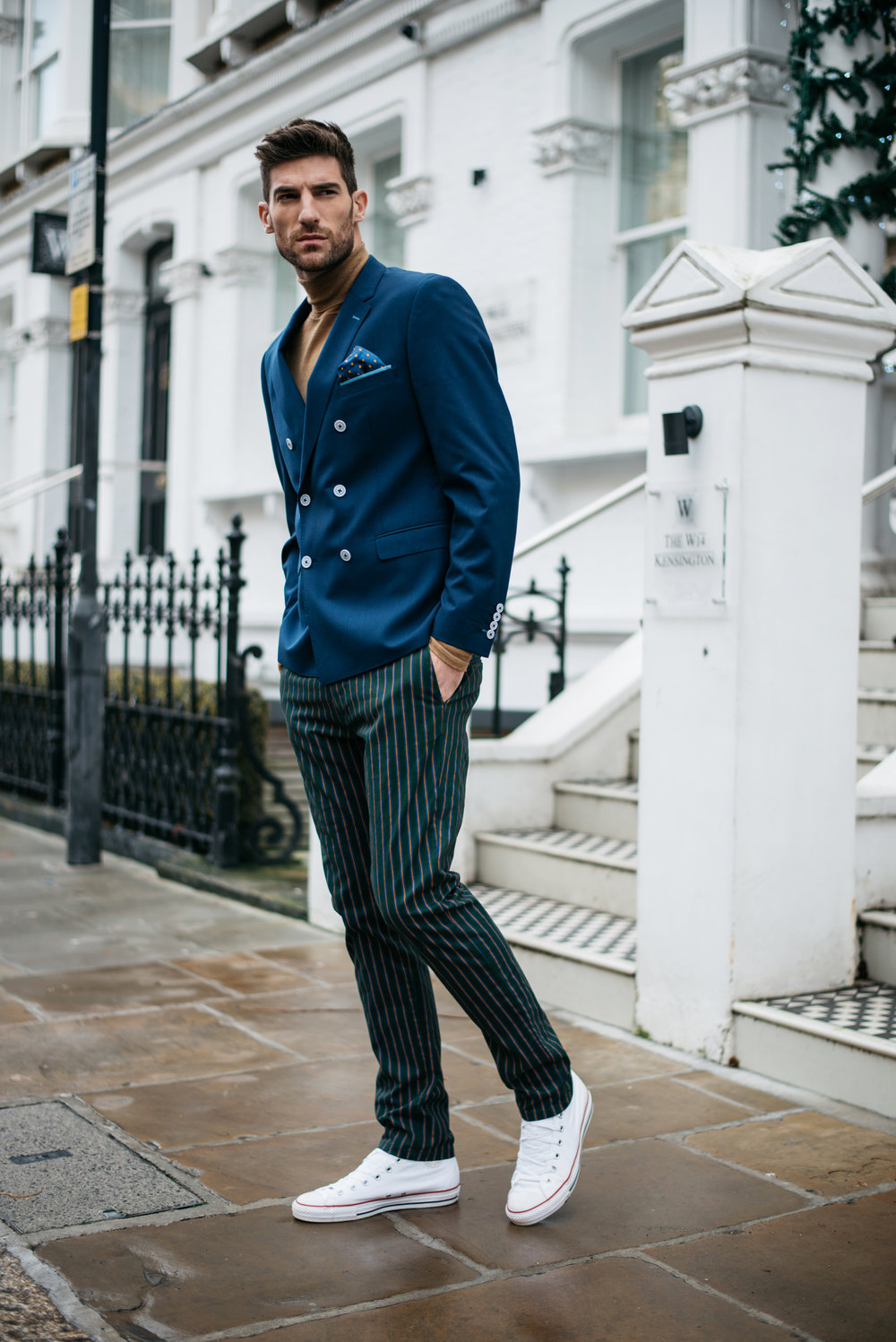 Roll neck & trousers-  Scotch and Soda , Jacket -  Remus Uomo , Pocket square -  Ben Sherman , Trainers -  Converse