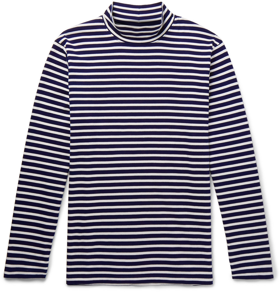 Striped Cotton-Jersey Rollneck T-Shirt - £95