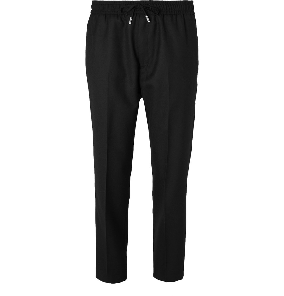 Midnight-Blue Slim-Fit Worsted-Wool Drawstring Trousers - £195