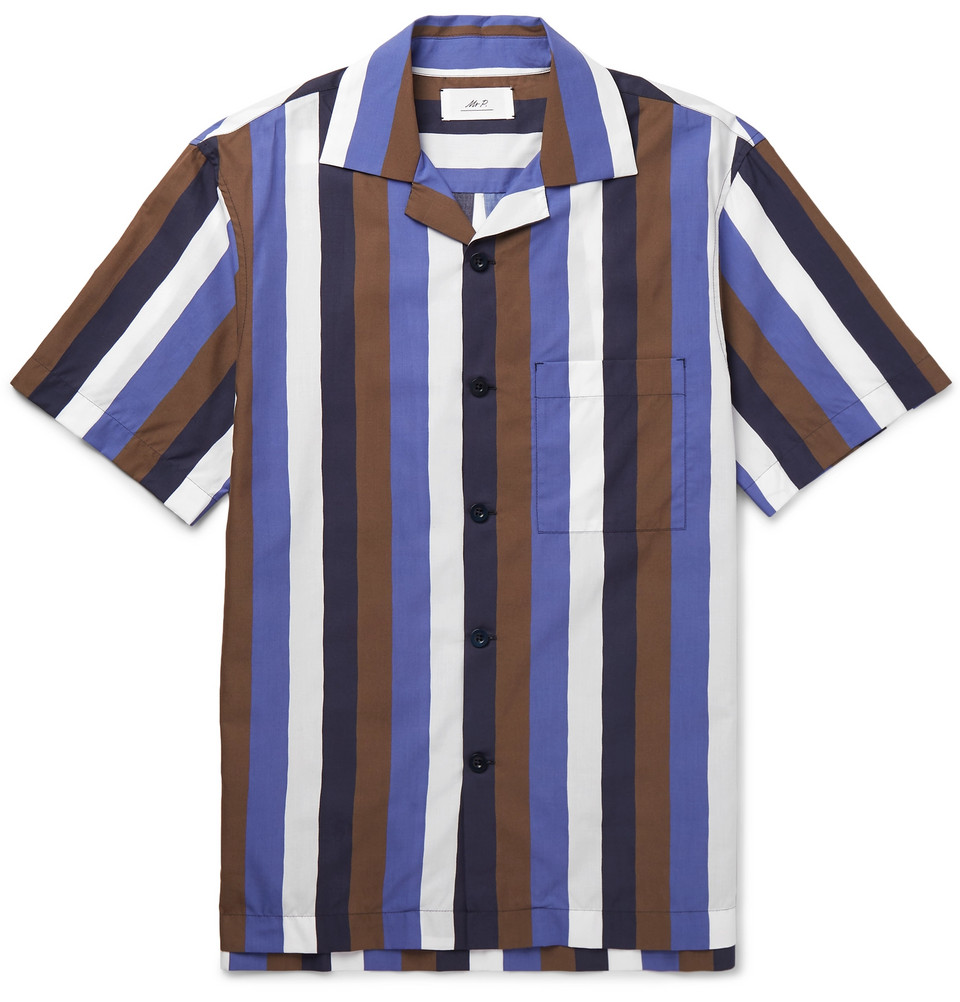Camp-Collar Striped Cotton-Blend Poplin Shirt - £135
