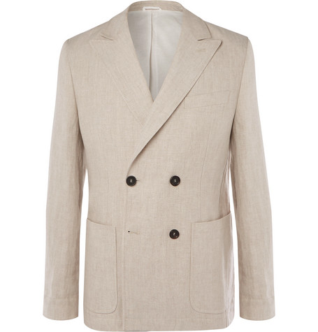 Oliver Spencer double-breasted linen blazer at Mr Porter - £375 - With an eye firmly on a warm spring, this jacket would look superb with baggy, tan trousers