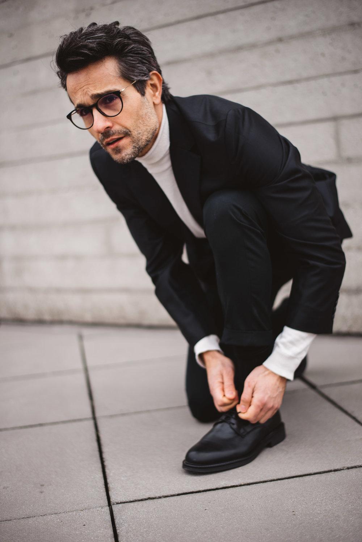 Knit -  Zara , Trousers -  All Saints , Blazer -  Boss , Glasses -  Tom Ford