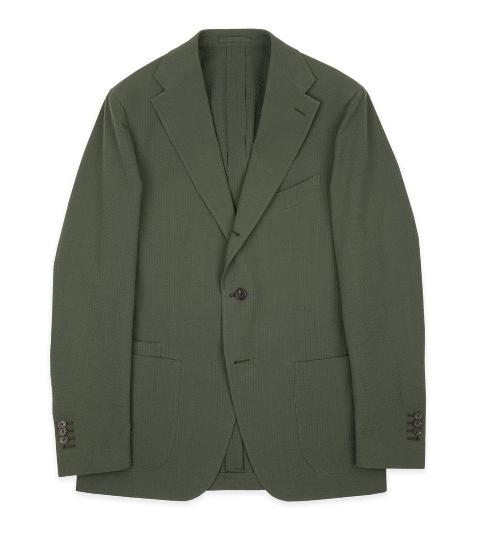 Drake's olive cotton seersucker suit - £1,195 - Modern & classic suit for made for a perfect for summer fabric