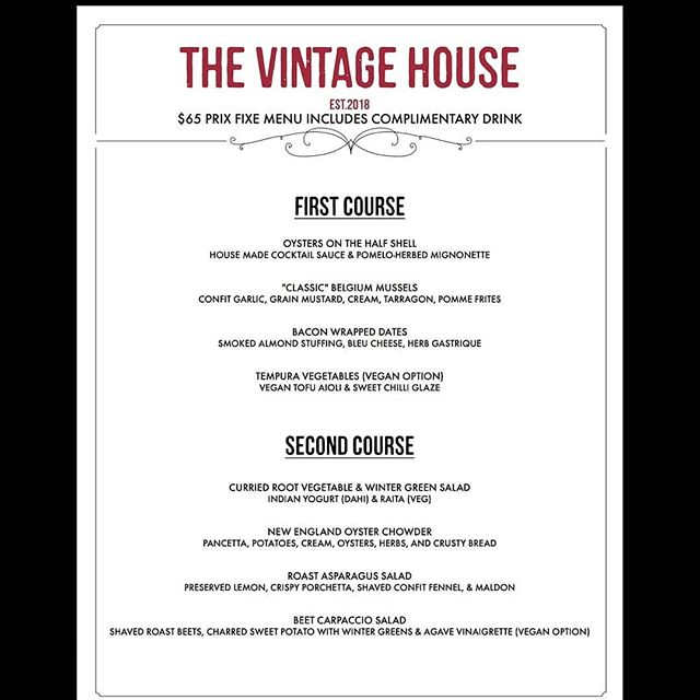 At long last! @vintagehouseny menu for Valentine's day is finally here. We've done our best to make an elegant menu, for your intimate  date night. We were going to post a single picture, but it was too small; I believe this fits better. Enjoy #Chefgabrielpollow #cheflife #vintagehouseny #vintage #newyear #newyork #albanyny #albanynyeats #valentinesday2019 #valentines #galentinesday #veganfood #veganfriendly #gastropub #foodnetwork #foodphotography #newmenu @chef5287 @speakdumb @graneymike @scott6qb6