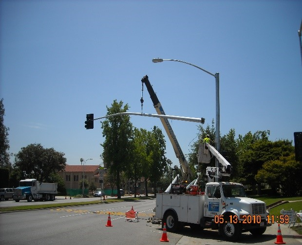 DMR Team, Inc. Provided survey, design, construction management, and inspection services for the installation of new traffic signals along the Fair Oaks Avenue corridor at Bank Street. The project also included cold milling and repaving of existing pavement as well as restriping of the intersection.