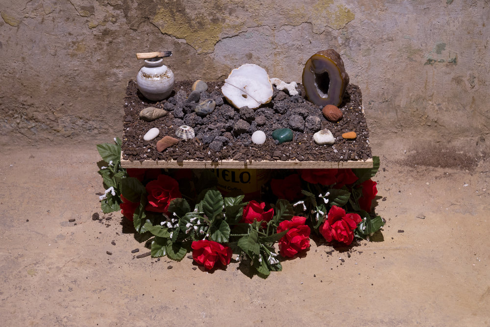 Alter of No Religion  Detail. Plywood, palo santo, ceramic vessel, cacti soil, volcanic soil and rocks, geo stones, artificial rose vine, coffee container. dimensions vary. 2017