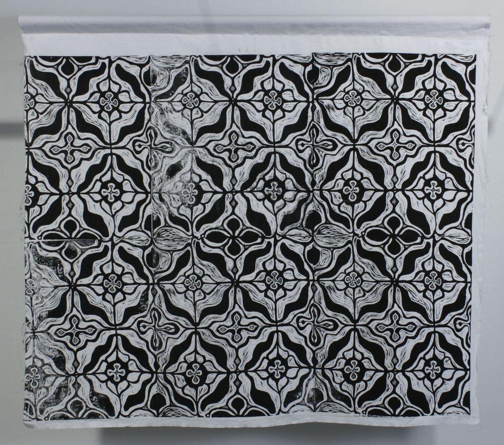 "Ainu . Body-printed linocut on repurposed fabric. 34"" x 30"". 2016."