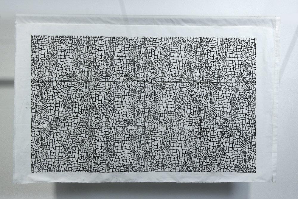 "Robinia. Body-printed linocut on repurposed fabric. 30"" x 37"". 2016"
