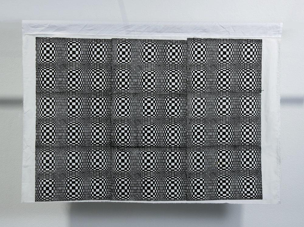 "Drum Circle. Body-printed linocut on repurposed fabric. 35"" x 44"". 2016"