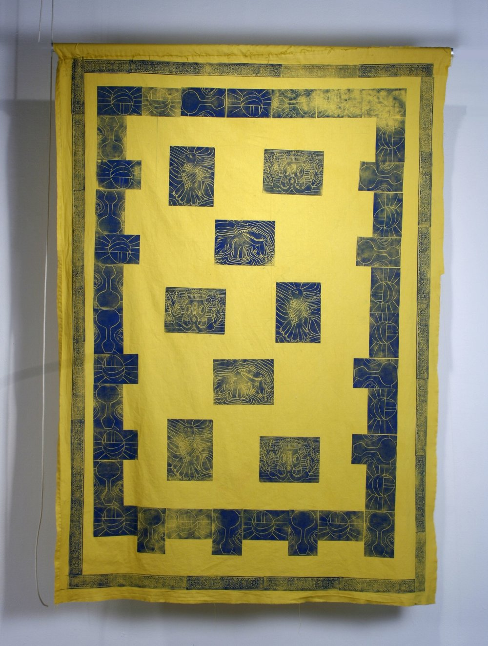 """Ancient Gold. Body-printed linocut on repurposed and dyed fabric. 60"""" x 40"""". 2016"""