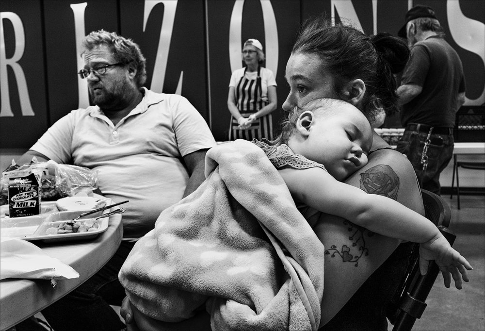 "June 2017:   Ron and Destiny are at the Horizons Soup Kitchen with Destiny's baby niece. Ron and Destiny rely on the lunch meals served there Monday through Friday to survive. Destiny's 18-month-old daughter is living with her parents in Macomb while the couple struggles with homelessness. ""We feel it's a better, stable environment, for Destiny's daughter until we can get back on our feet,"" Ron said."