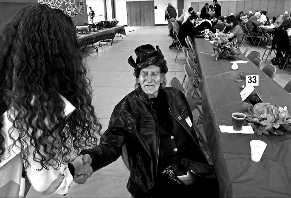 """November 2016: After volunteering to serve Thanksgiving meals at the Kroc Center, Walter begins telling one-liner jokes, tickling everyone's funny bone. """"Hey, I gotta flirt with all of them, I can't leave any of them out,it might hurt their feelings,"""" he says, jokingly."""