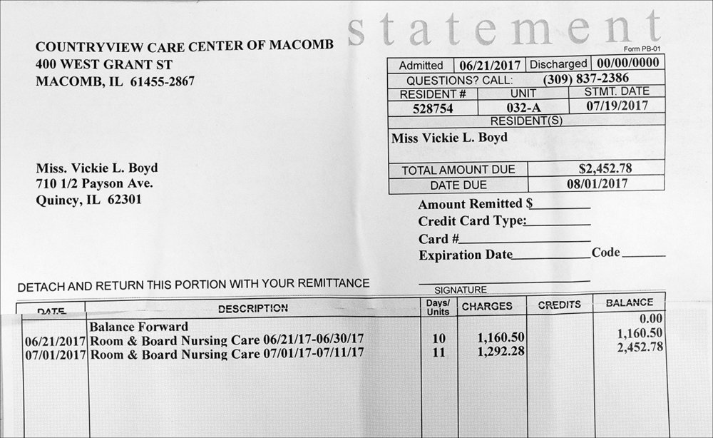 July 2017:  Within weeks of her death, Vickie receives a bill for her stay at a nursing following her release from Blessing Hospital.
