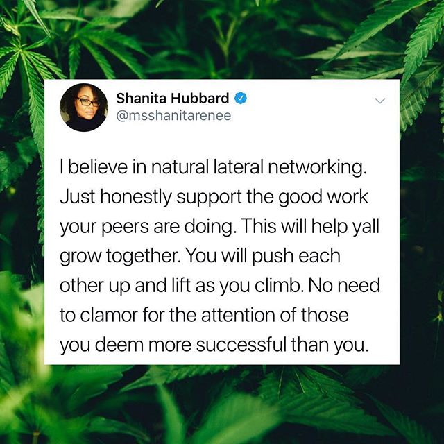 "🙌🏽🙌🏽🙌🏽 #Repost @cannaclusive - - - - - - This is one of Cannaclusive's goals. We're here for supporting and uplifting our canna fam. You should be too. ""I believe in natural lateral networking. Just honestly support the good work your peers are doing. This will help yall grow together. You will push each other up and lift as you climb. No need to clamor for the attention of those you deem more successful than you.""— @professor_nita  #cannafam #cannabiscommunity #cannabisculture #420life #420society #710society #710community #pocincannabis #wocincannabis #wocinweed #collaboration #teamwork #collab #collaborationovercompetition #empoweringwomen #empowerment"