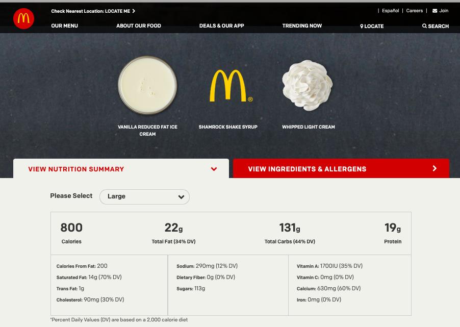 McDonald's LARGE Shamrock Shake Nutrition Summary screenshot from McDonald's website on March 13, 2019.