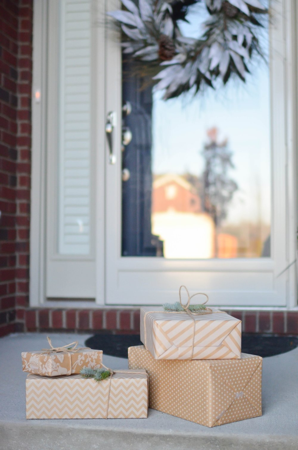 packages left on a doorstep in front of a home