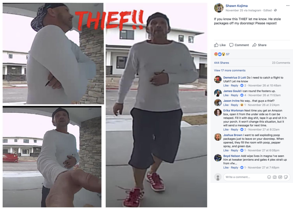 Shawn Kojima posted these photos to Facebook on November 25. It was shared more than 400 times and was seen by Facebook users who recognized the suspect.