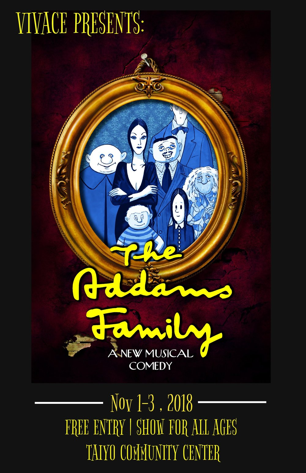 Vivace's Fall Musical production has been announced! We will be producing The Addams Family in November! If you are looking to get involved/audition/watch the show, follow us on all our social media handles ( Facebook ,  Instagram ) and check out the  Addams Family Production Page  for more updates!