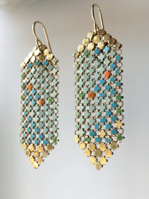 1b584aa06c075e Aqua Gold Tipped Mesh Earrings — MARAL RAPP | Modern Vintage Works ...