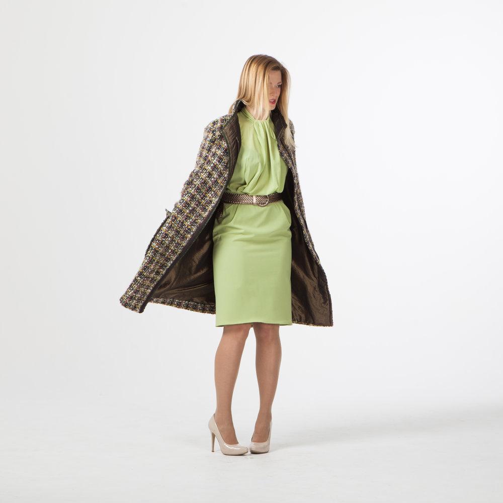 Шерстяное пальто + платье из шифона