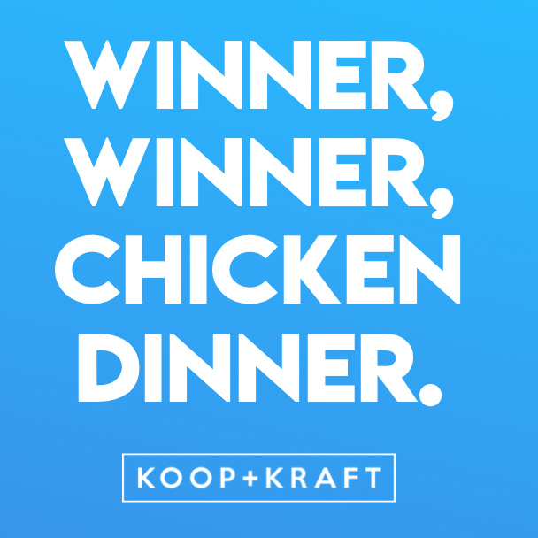 MAKING THE CHICKEN DINNER COOL AGAIN...  We're pleased to now offer Takeaway also so that you can now get your Koop+Kraft fix at home!  Check out our menu online - available 5pm-10pm every day!