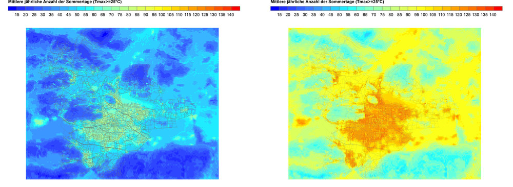 Days with more than 25 Degree Celsius for the City of Klagenfurt. Left: Years 1981-2000. Right: Years 2071-2100. Source: ZAMG