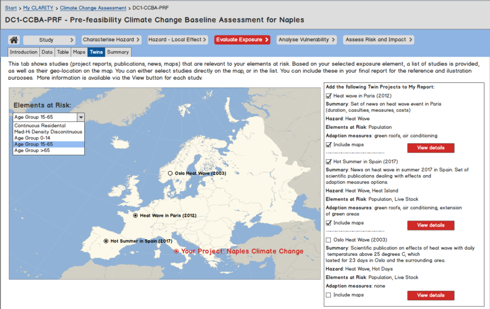 In the mock-up you can see all types of hazards, for example heat. You will find information about extreme weather events in different European countries as shown here the heatwaves in Paris, Spain and Oslo (c) Atos